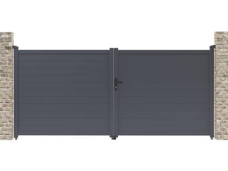 """Portail aluminium """"Marc"""" - 349.5 x 155.9 cm - Gris"""