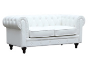 "Canapé fixe Chesterfield ""Aliza"" - 157 x 82 x 70 cm - 2 places - Blanc"
