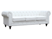 "Canapé fixe Chesterfield ""Aliza"" - 208 x 82 x 70 cm - 3 places - Blanc"