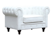 "Fauteuil Chesterfield ""Aliza"" - 111 x 82 x 70 cm - Blanc"