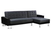 Canapé d'angle convertible et réversible  Theo  - 4 places - Noir et Gris