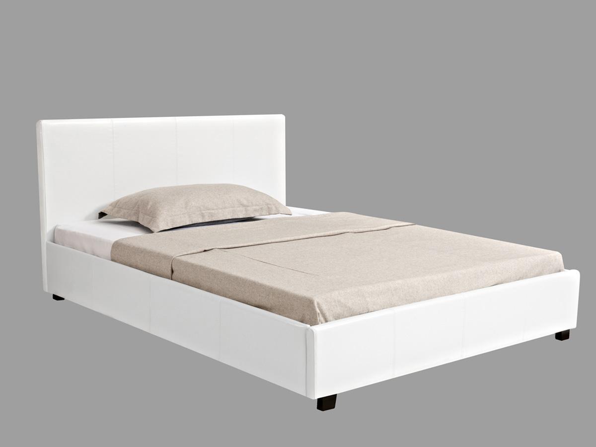 lit coffre carla 140 x 190 cm blanc - Lit 140