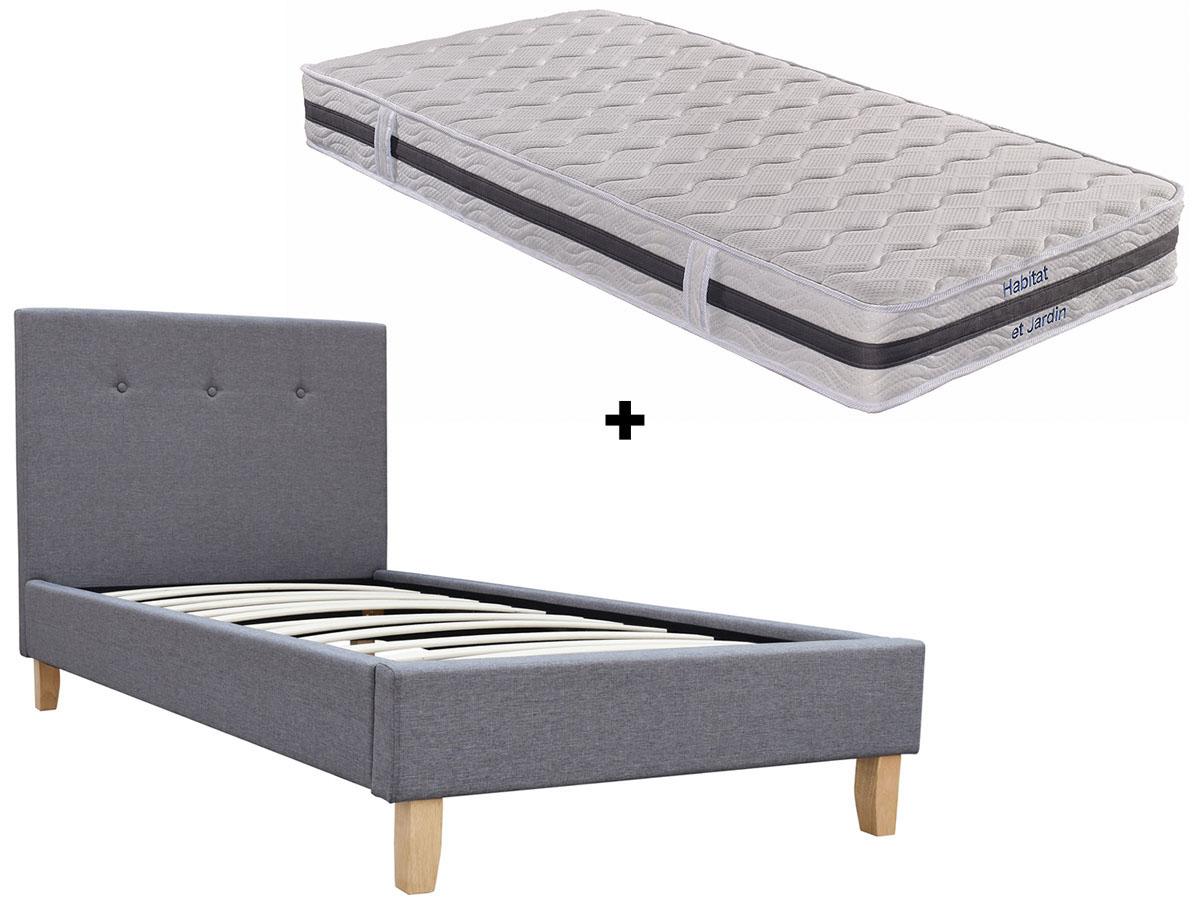 ensemble lit matelas ressorts elise 90 x 190 cm 94169. Black Bedroom Furniture Sets. Home Design Ideas