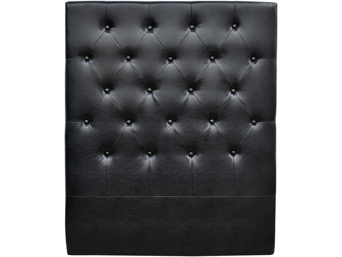 tete de lit capitonnee 90 cm deco en pvc noir 92568. Black Bedroom Furniture Sets. Home Design Ideas