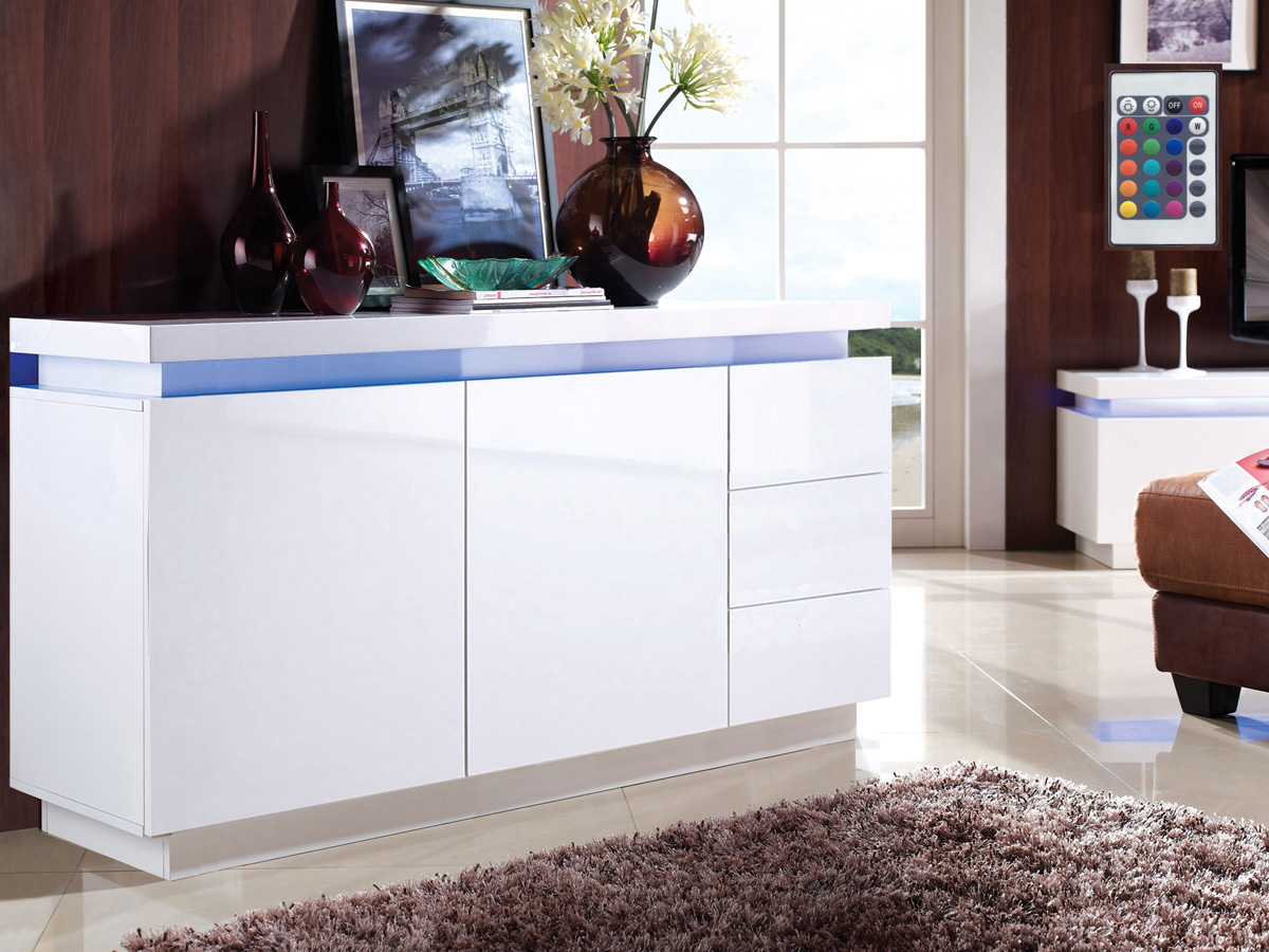 buffet lidia en mdf laqu blanc avec led 150 x 40 x 75 cm 70125. Black Bedroom Furniture Sets. Home Design Ideas