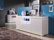 "Buffet LED ""Flora"" - 166.6 x 42.1 x 74 cm - 2 portes - 3 tiroirs - Blanc laqué"
