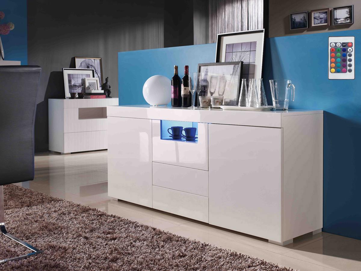 buffet flora mdf laqu blanc avec led 2 portes et 3 tiroirs 70126. Black Bedroom Furniture Sets. Home Design Ideas