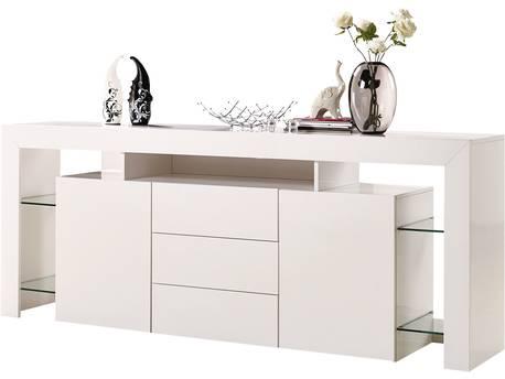 "Buffet LED ""Lana"" - 200 x 42 x 86 cm - Blanc laqué"