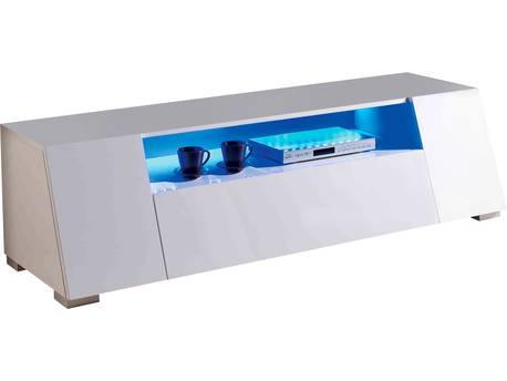 "Meuble LED TV""Chlora""- 160 x 52 x 43,5 cm - Blanc laqué"