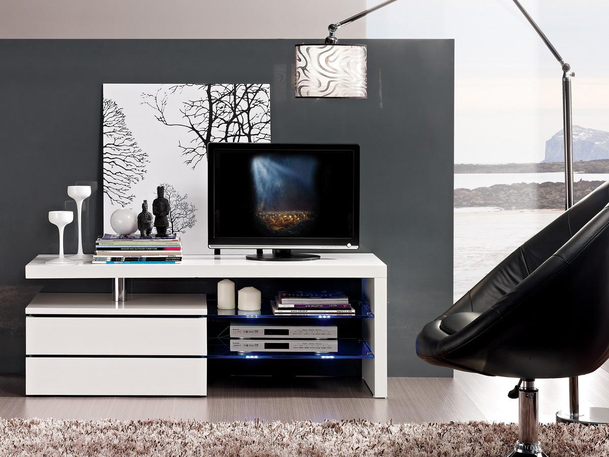 Meuble Tv Diana 120x42x43 1 Cm Mdf Blanc 70120 # Meuble Tv Avec Cheminee Ethanol