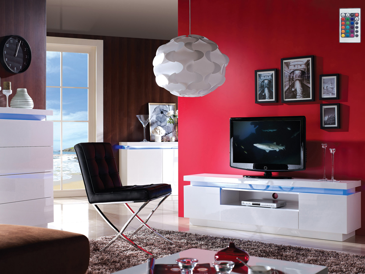 Meuble Tv Sylia 165 X 40 X 49 Cm En Mdf Blanc Laqu Avec Led  # Vente Flash Meuble Tv