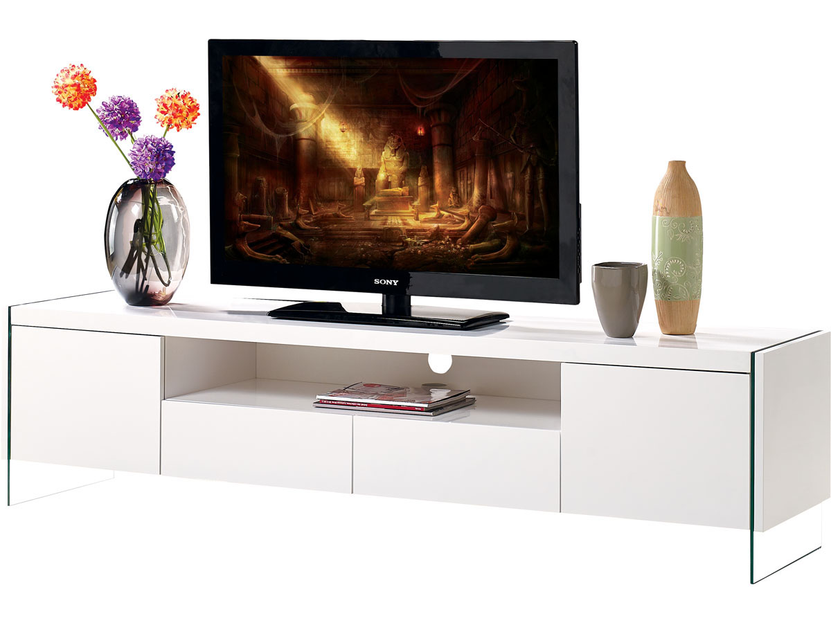 Meuble Tv Led Clara 180 X 40 X 45 Cm Blanc Laqu 93267 # Meuble Tv Cache Fil