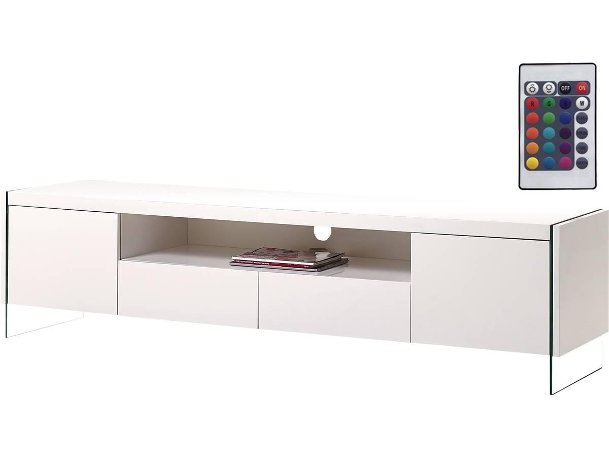 meuble tv led clara 180 x 40 x 45 cm blanc laqu 93267. Black Bedroom Furniture Sets. Home Design Ideas