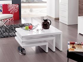 "Table basse design ""Elysa"" - 80 x 59 x 37,5 cm - Blanc laqué"