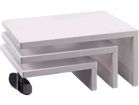 "Table basse design ""Elysa"" - 80 x 59 x 37,5 cm - Blanc laqué"