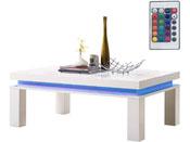 "Table basse LED ""Lila"" - 120 x 80 x 45 cm-  Blanc laqué"