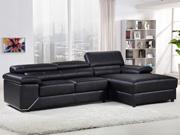 Canapé d'angle en cuir reconstitué et PVC  London  - 4 places - Noir - Angle droit