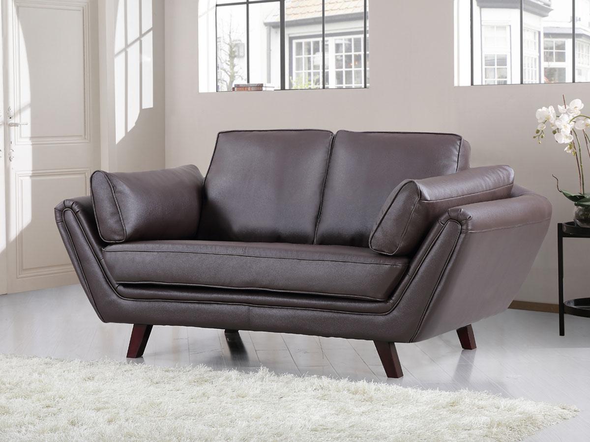 canap cuir reconstitu pvc bilbao 2 places chocolat 84172 84173. Black Bedroom Furniture Sets. Home Design Ideas