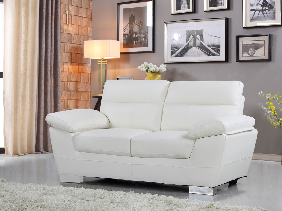 canap cuir reconstitu pvc dallas 2 places blanc. Black Bedroom Furniture Sets. Home Design Ideas