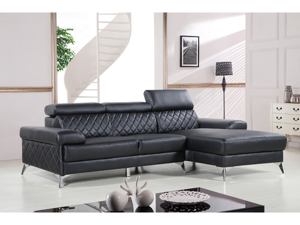 canape d angle en cuir reconstitue pvc houston 4 places noir angle droit