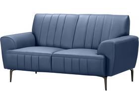 """Canapé droit fixe en cuir reconstitué """"Bosley"""" - 162 x 89 x 85 cm - 2 places - Bleu"""