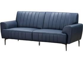 """Canapé droit fixe en cuir reconstitué """"Bosley"""" - 201 x 89 x 85 cm - 3 places - Bleu"""
