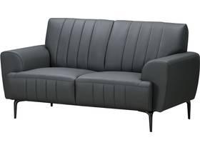 """Canapé droit fixe en cuir reconstitué """"Bosley"""" - 162 x 89 x 85 cm - 2 places - Gris"""
