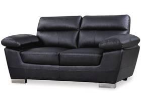 """Canapé fixe en cuir reconstitué et PVC """"Dallas"""" - 169 x 88 x 90 cm - 2 places - Noir"""