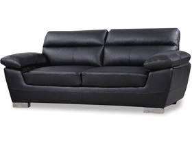 """Canapé fixe en cuir reconstitué et PVC """"Dallas"""" - 210 X 88 X 90 cm - 3 places - Noir"""