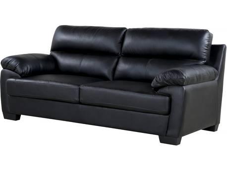 """Canapé cuir et PVC """"Cardiff"""" - 205 x 92 x 93 cm - 3 places - Noir"""
