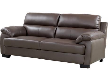 """Canapé cuir et PVC """"Cardiff"""" - 205 x 92 x 93 cm - 3 places - Chocolat"""