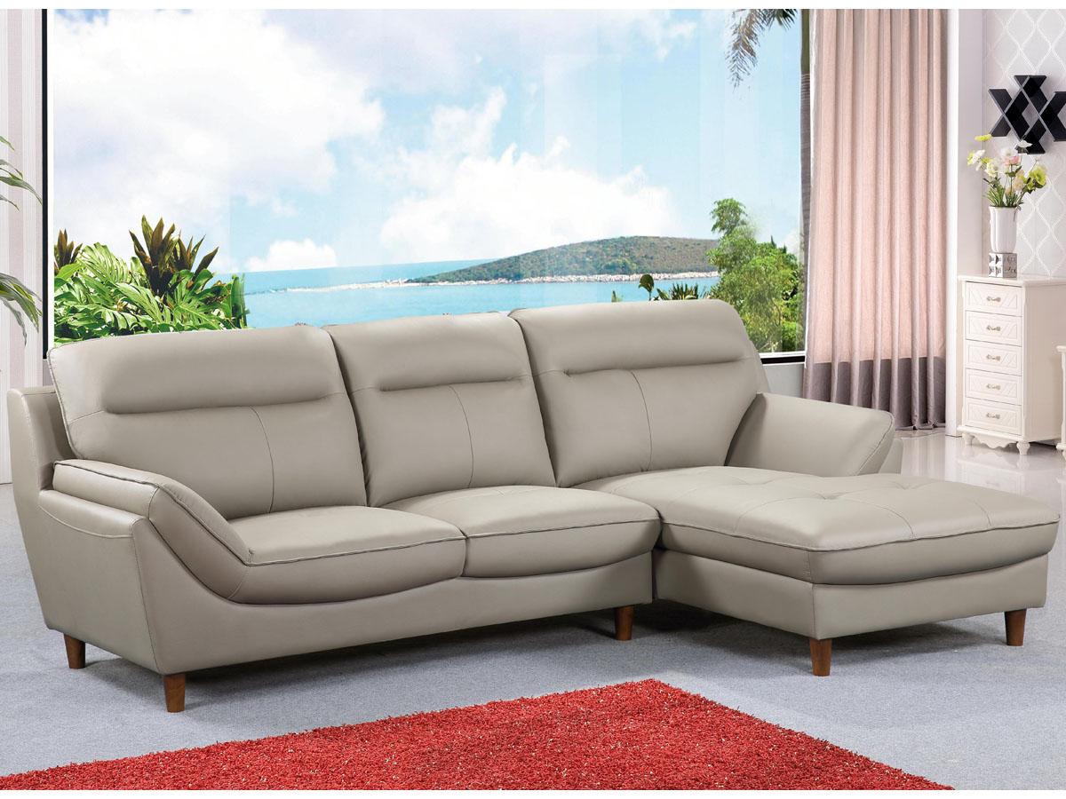 canap d 39 angle cuir reconstitu pvc ronald 4 places beige angle droit 86316. Black Bedroom Furniture Sets. Home Design Ideas