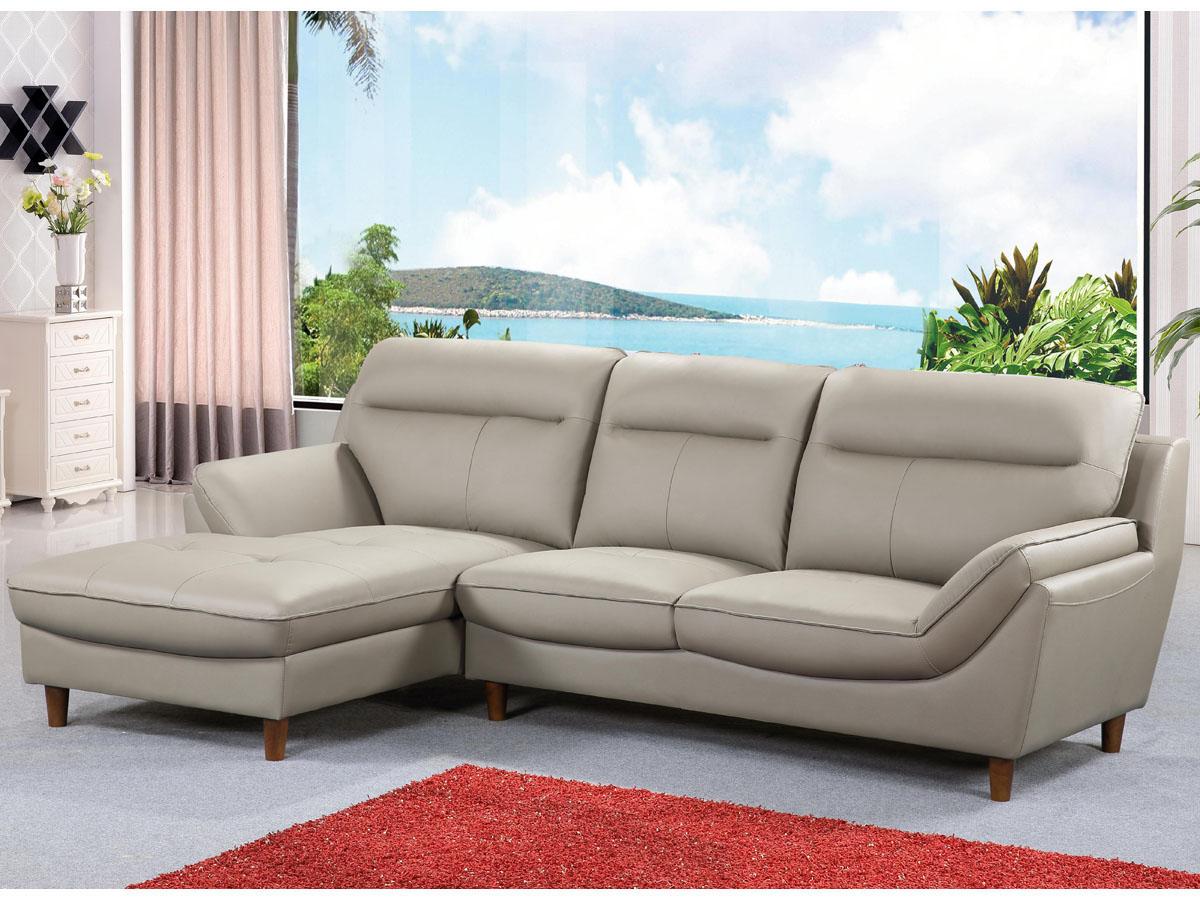 canap d 39 angle cuir reconstitu pvc ronald 4 places beige angle gauche 86316 86320. Black Bedroom Furniture Sets. Home Design Ideas