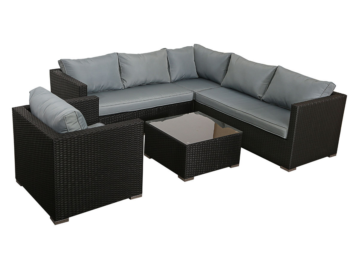 salon de jardin en r sine tress e auckland 1 canap d 39 angle 1 fauteuil 1 table basse 78729. Black Bedroom Furniture Sets. Home Design Ideas