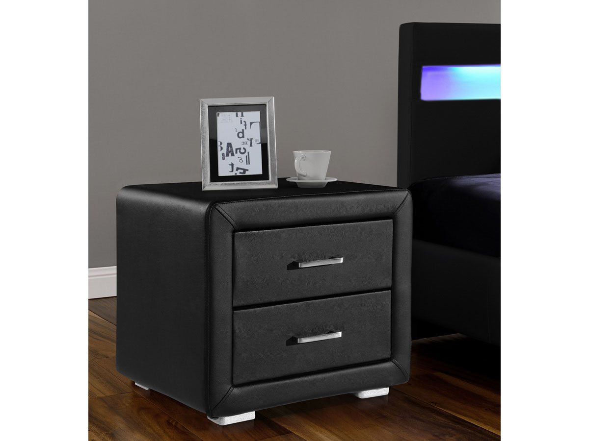 chevet lola 49 x 37 x 44 5 cm noir 81435 81437. Black Bedroom Furniture Sets. Home Design Ideas
