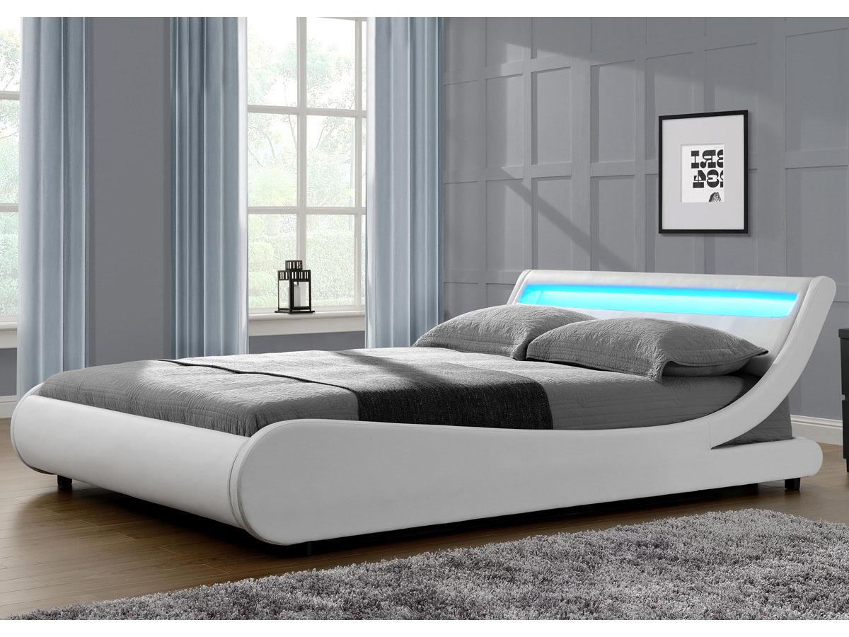 lit led natacha 160 x 200 cm blanc - Lit 160x200 Avec Led