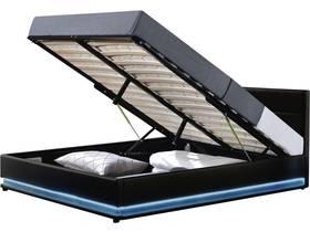 """Lit LED avec coffre """"Anastasia"""" - 140 x 190 cm - Noir"""
