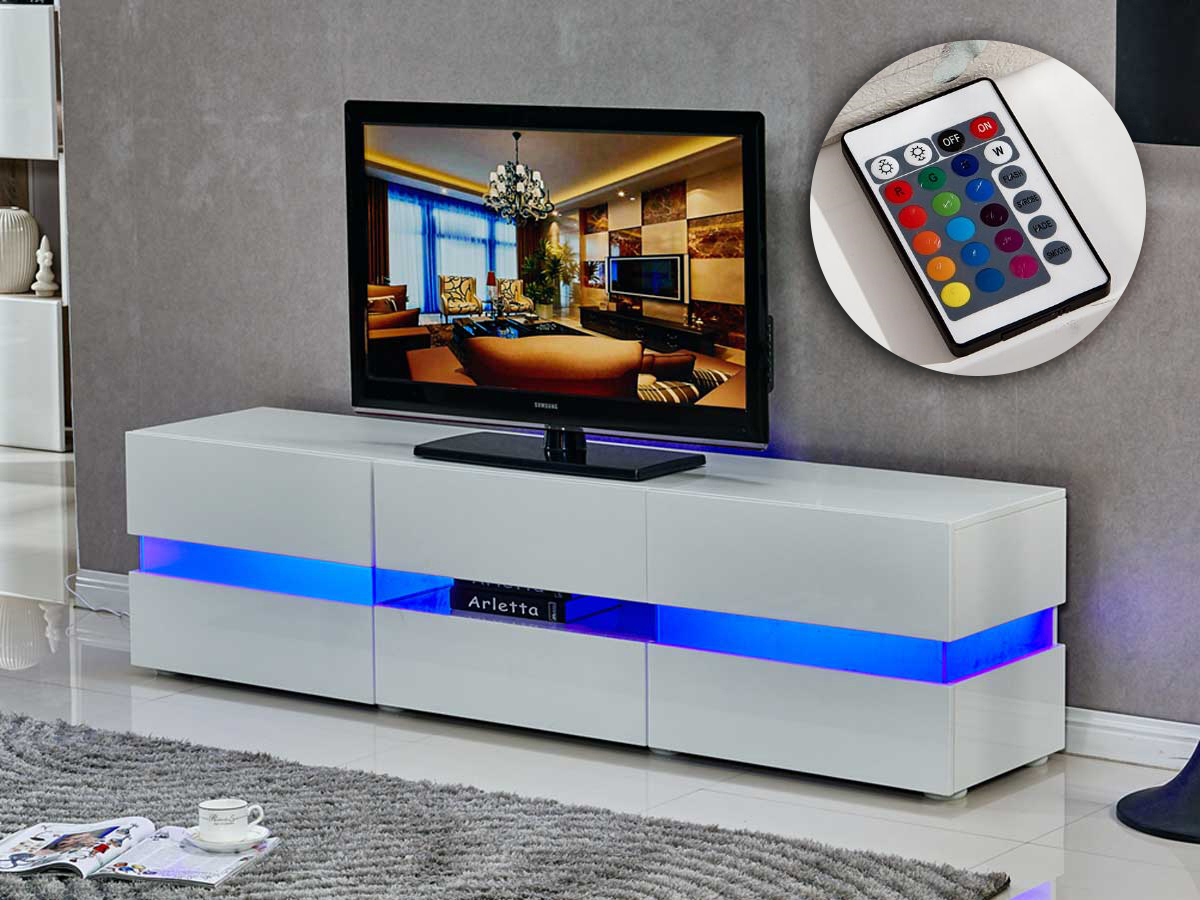 Meuble Tv Led Vida 177 X 39 X 45 Cm Blanc Laqu 85391 # Meuble Tv Namur