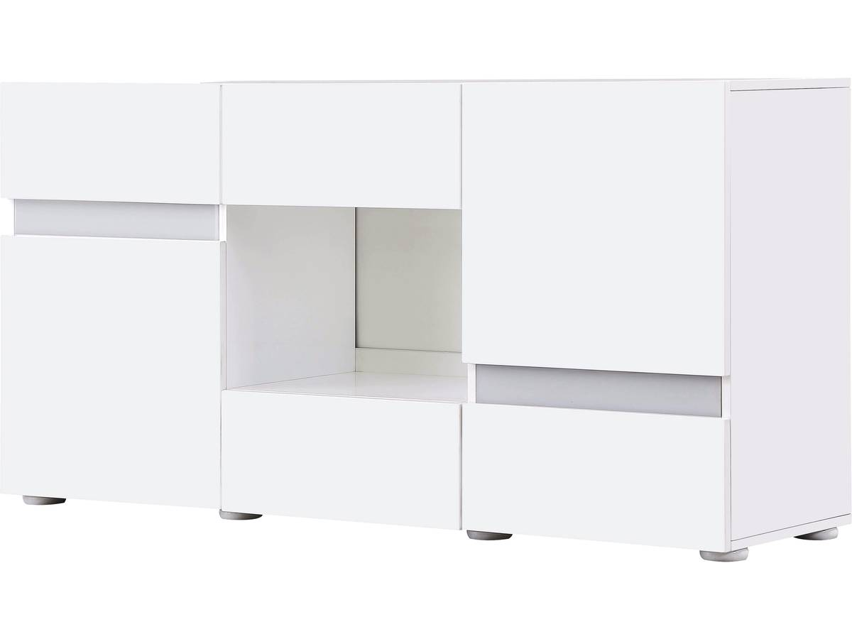 Buffet Led Volta 140 X 40 X 72 Cm Blanc Laqu 85394 # Meuble Tv Laque Blanc Mdf Led Rose