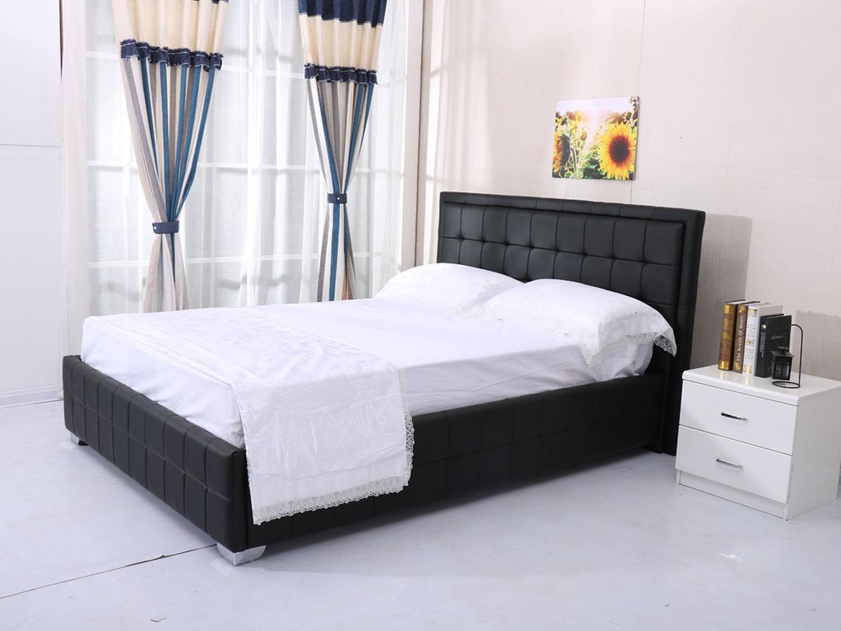 lit alex 140 x 190 cm noir 92741 92743. Black Bedroom Furniture Sets. Home Design Ideas
