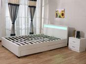 """Lit LED """"Nico"""" - 140 x 190 cm - Blanc"""