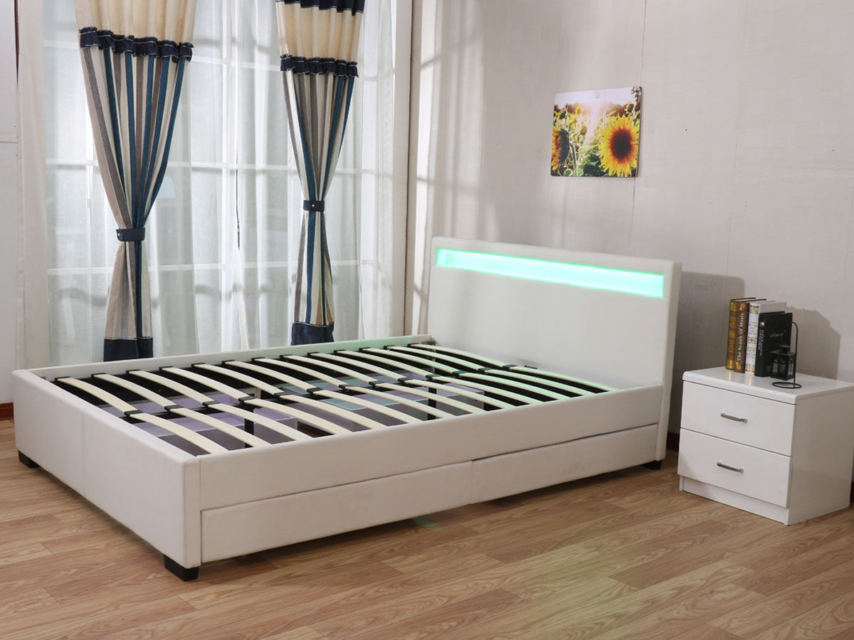 lit led nico 140 x 190 cm blanc 92735. Black Bedroom Furniture Sets. Home Design Ideas