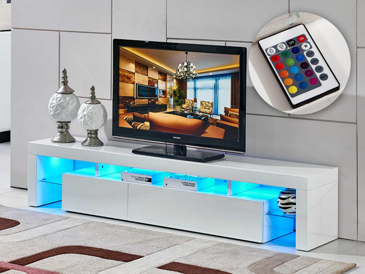 Meuble Tv Led Tina 188 X 34 X 38 Cm Blanc Laqu 85389 # Meuble Living Blanc Laque Brillant