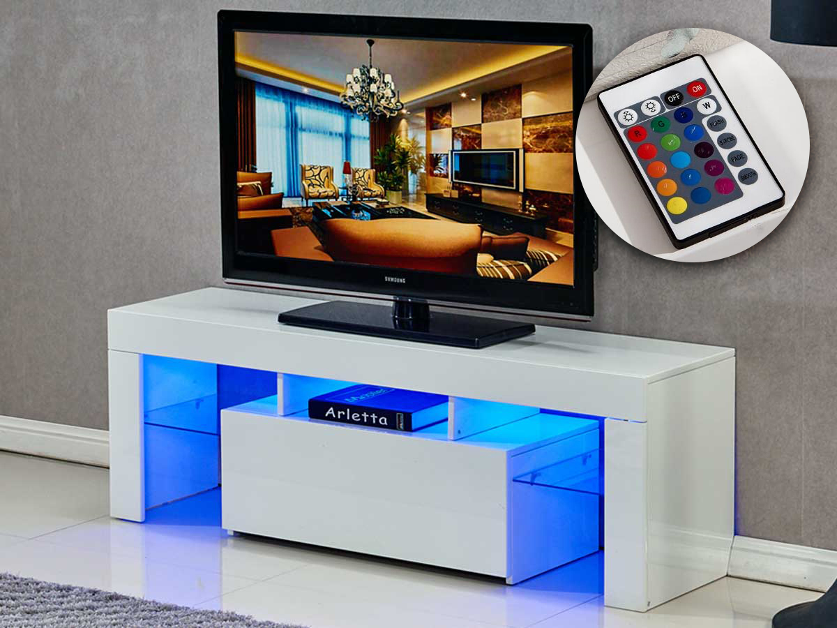 Meuble Tv Led Borda 130 X 34 X 45 Cm Blanc Laq 85392 # Meuble Tv Amera Blanc Laque