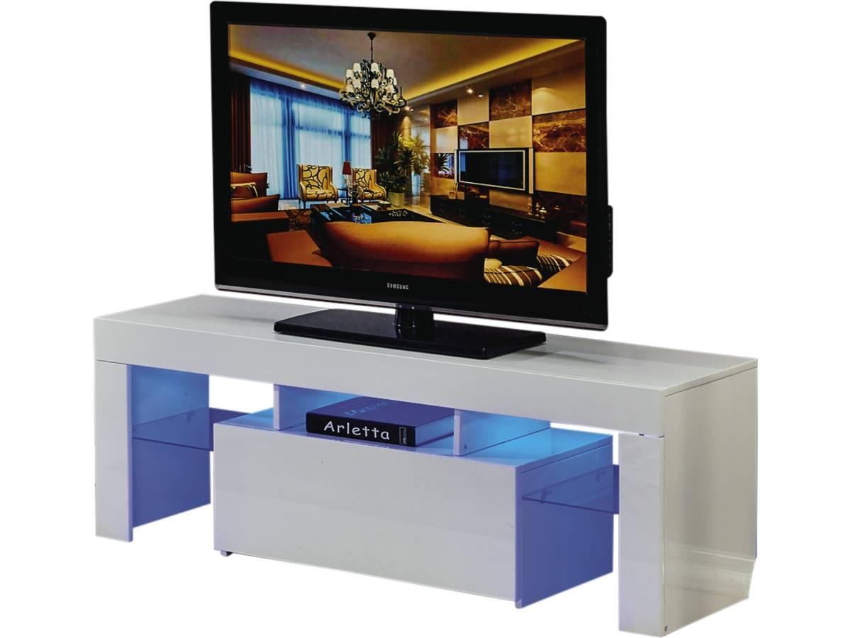 Meuble Tv Led Borda 130 X 34 X 45 Cm Blanc Laq 85392