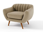 "Fauteuil tissu ""Olso"" - Gris taupe"