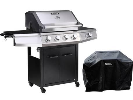 """Barbecue gaz """"Bingo 5"""" - 5 Brûleurs dont 1 latéral - 15.2kW + Housse protection - Noir"""