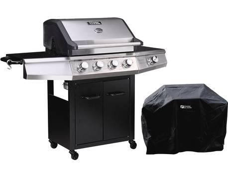 """Barbecue gaz avec LED """"Bingo 5"""" - 5 Brûleurs dont 1 latéral - 15.2kW + Housse protection - Noir"""