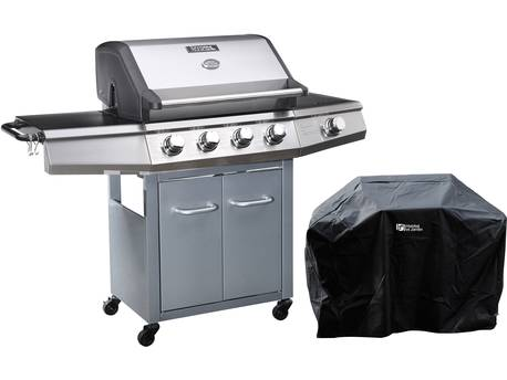 """Barbecue gaz """"Bingo 5"""" - 5 Brûleurs dont 1 latéral - 15.2kW + Housse protection - Argenté"""