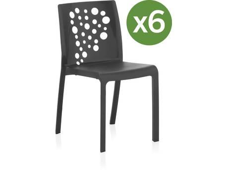 """Lot de 6 chaises jardin """"Cocktail"""" - Anthracite"""